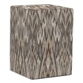 Howard Elliott Tall Block Ikat Ottoman; Stone