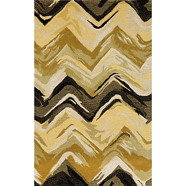 Liora Manne Tivoli Chevron Yellow/Grey Area Rug; 5' x 8'