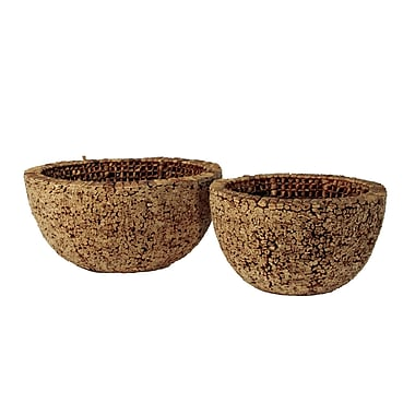 Ibolili Knotted Round Water Hyacinth Decorative Bowl (Set of 2)