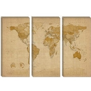 iCanvas 'Antique World Map II' by Michael Tompsett Graphic Art on Canvas; 12'' H x 18'' W x 0.75'' D
