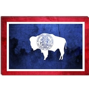 iCanvas Wyoming Flag, Paper Grunge Graphic Art on Canvas; 26'' H x 40'' W x 1.5'' D