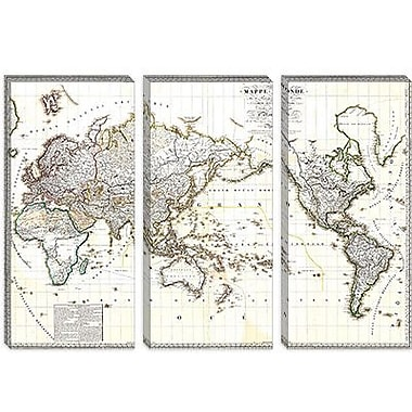 iCanvas Antique French Map of the World (1816) Graphic Art on Canvas; 12'' H x 18'' W x 0.75'' D