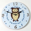 Forest Creations 18'' Owl Wall Clock; Pastel Blue