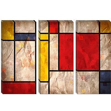 iCanvas 'Mondrian Inspired' by Michael Tompsett Graphic Art on Canvas; 12'' H x 18'' W x 0.75'' D