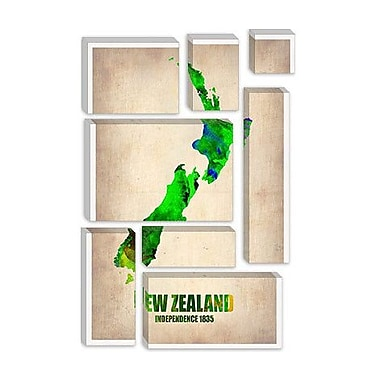 iCanvas 'New Zealand Watercolor Map' by Naxart Graphic Art on Canvas; 26'' H x 18'' W x 0.75'' D