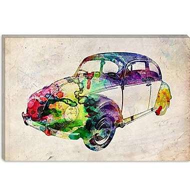 iCanvas 'VW Beetle (Urban)' by Michael Tompsett Graphic Art on Canvas; 26'' H x 40'' W x 1.5'' D