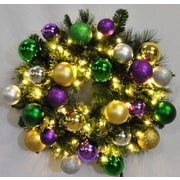 Queens of Christmas Pre-Lit Sequoia Wreath Decorated w/ Mardi Gras Ornament; 48''