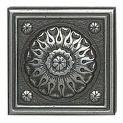 Daltile Metal Ages 2'' x 2'' Baroque Glazed Decorative Tile Insert in Polished Pewter