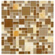 EliteTile Sierra Random Sized Glass and Stone Polished Mosaic in Versailles Amber
