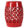Urban Trends Ceramic Garden Stool Open Work-; Red