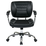 Office Star Faux Leather Task Chair with Padded Arms and Chrome Accents; Espresso