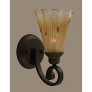 Toltec Lighting Curl 1 Light Wall Sconce; Amber Crystal