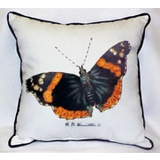 Betsy Drake Interiors Garden Admiral Butterfly Indoor/Outdoor Throw Pillow