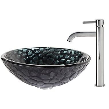 Kraus Kratos Glass Vessel Sink w/ Ramus Faucet; Chrome