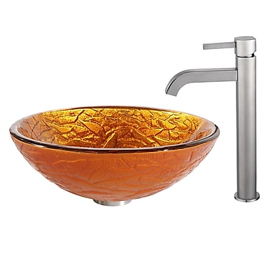Kraus Blaze Glass Vessel Sink w/ Ramus Faucet; Satin Nickel