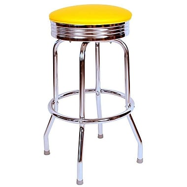 Richardson Seating Retro Home 24'' Swivel Bar Stool with Cushion; Yellow