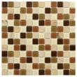 EliteTile Chroma 7/8'' x 7/8'' Square Glass and Stone Mosaic Wall Tile in Kalamata