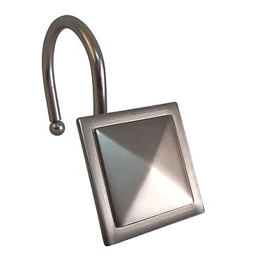 Elegant Home Fashions Diamond Line Design Shower Hooks (Set of 12); Satin Nickel