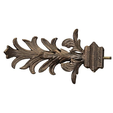 Menagerie Casa Outdoor Leaf w/ Square Base Curtain Finial (Set of 2); Bronze