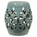 Urban Trends Ceramic Garden Stools open Work; Green