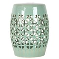 Urban Trends Ceramic Garden Stool Open Work-; Green