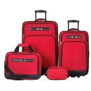 Skyway Desoto 4 Piece Luggage Set; Red