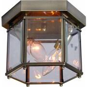 Volume Lighting 2-Light Ceiling Fixture Flush Mount; Antique Brass