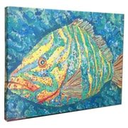 My Island Striped Grouper Mounted by Giclee Gerri Hyman Painting Print on Canvas