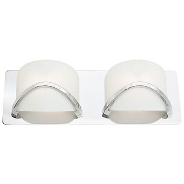 DVI Solstice 2-Light Bath Bar; Chrome with Half Opal Glass