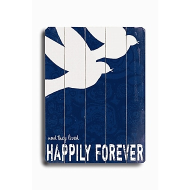 Artehouse LLC Happily Forever Planked by Lisa Weedn Graphic Art Plaque