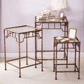 Twos Company Golden Bamboo  3 Piece Nesting Tables