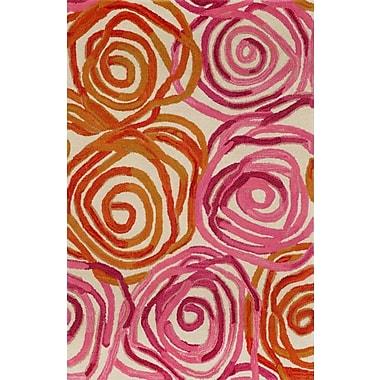 Liora Manne Tivoli Rambling Rose Sunset Orange/Pink Area Rug; 3'6'' x 5'6''