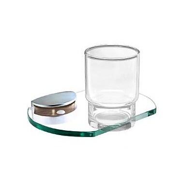 Alno Euro Tumbler and Tumbler Holder; Polished Brass