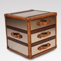 Lazzaro Leather End Table; Stainless / Caramel Trim