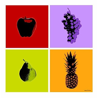 Maxwell Dickson 4-Piece Fruits Graphic Art on Wrapped Canvas (Set of 4); 20'' H x 20'' W
