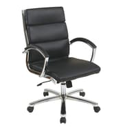 Office Star Mid-Back Leather Executive Office Chair Padded Arms and Base; Black