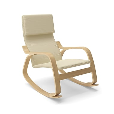Corliving Aquios Bentwood Contemporary Rocking Chair, Warm White