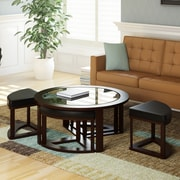 "CorLiving™ Belgrove 17 1/2"" x 38 1/4"" Bevelled Glass Round Coffee Table With 4 Stools, Dark Espresso"
