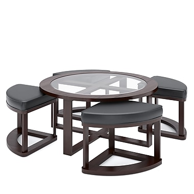 Corliving Belgrove Stained Coffee Table With 4 Stools, Dark Espresso