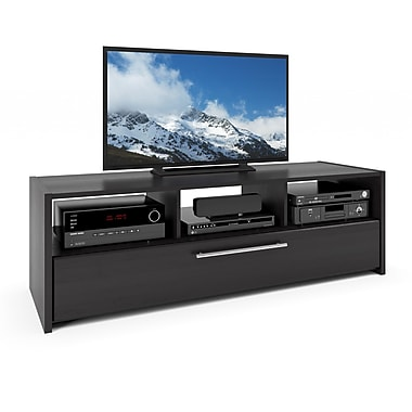 Corliving Tnp-608-B Naples TV/Component Bench, Wood Grain Black