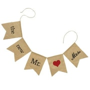 """HBH™ 50"""" x 10"""" """"The New Mr. & Mrs."""" Burlap Banner, Black/Brown/Red"""