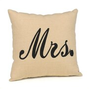 "HBH™ 12"" x 12"" ""Mrs."" Throw Pillow, Linen/Black"