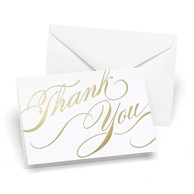 HBH™ 3 1/2in. x 4 7/8in. Unending Gratitude Wedding Thank You Card, White/Gold Foil, 50/Pack