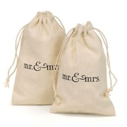 HBH™ 4 x 6 mr. & mrs Cotton Favor Bag Set, White/Black