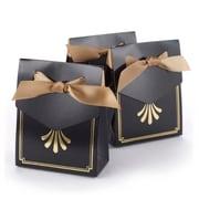 """HBH™ Art Deco 3 3/4"""" x 1 3/8"""" Tent Favor Boxes, Gold"""