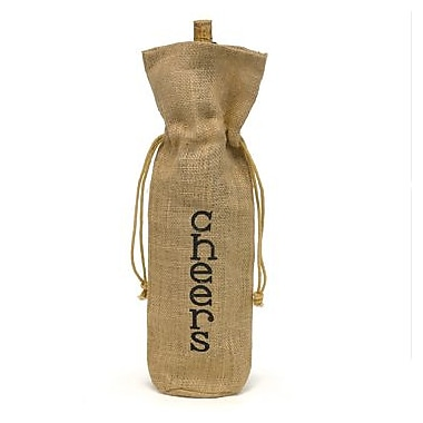 HBH™ 15in. in.Cheers!in. Burlap Wine Bag, Tan/Black