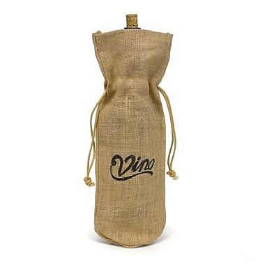 HBH™ 15in. Vino! Burlap Wine Bag, Tan/Black