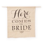 """HBH™ 19 1/4"""" x 16"""" """"Here Comes The Bride"""" Burlap Sign, Brown/Black"""