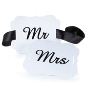 "HBH™ 50"" x 1 1/2"" ""Mr. and Mrs"". Scallop Chair Banner, White/Black"