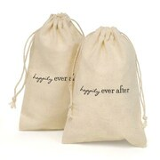 "HBH™ 4"" x 6"" ""Happily Ever After"" Cotton Happily Ever After Favor Bag Set, White/Black"